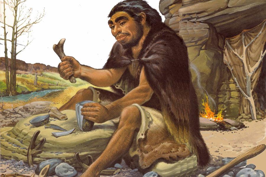 尼安德特人在地上挖洞,将桦树皮塞入洞中,点燃后再封住洞口,在缺少空气的情况下,沥青制造而成。这种有意识的用火制造行为,证明尼安德特人非常聪明。