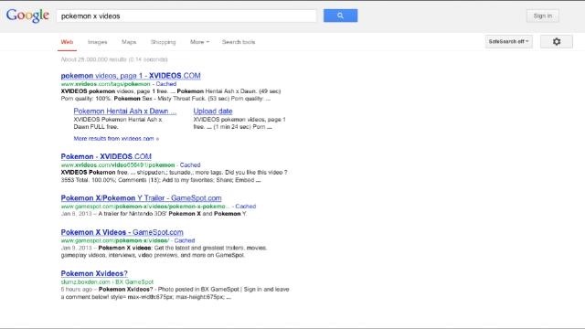 都有什么色情网站_谷歌搜索任天堂《口袋妖怪x》竟出色情网站