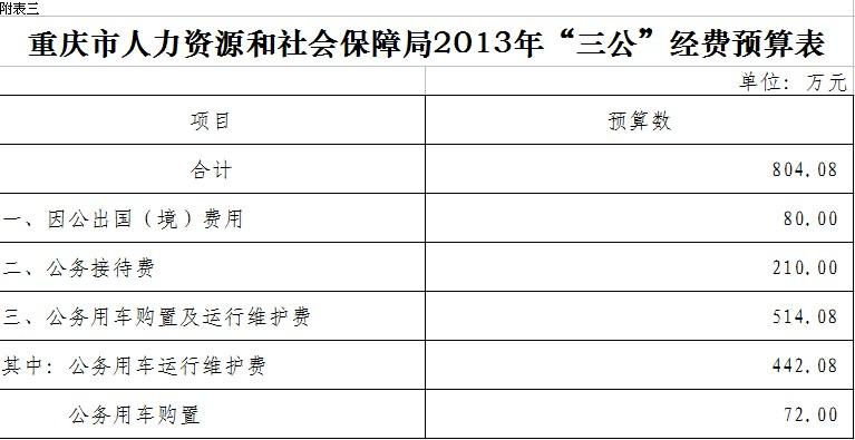 重庆市人力资源和社会保障局2013三公经费预