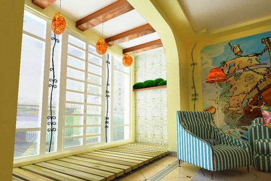 阳台上设计着白色的橱柜与梯子风格的收纳架