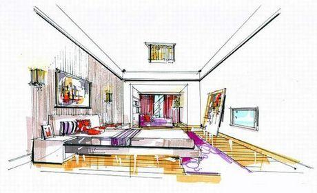室内客厅装饰手绘图