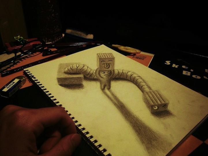 许多艺术家相当乐于挑战大家的视力,有用画笔挑战相机的超写实画作,也有把真实世界搞得像幅画的艺术作品。这回要介绍的日本插画家Nagai Hideyukiu要用一只铅笔与素描本挑战3D的超立体铅笔画,来挑战一下自己的眼力吧!