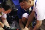 体操锦标赛女选手意外受伤 被担架抬出[高清大图]