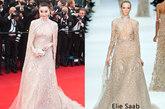 范爷新装驾到,凤凰时尚第一时间解析!这次仍是范爷常穿的Elie Saab,这件2012春夏高级定制裸色披风裙配上爷的犀利眼神,在红毯上颇有点傲视群雌的架势。