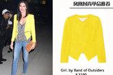 希拉里-洛达(Hilary Rhoda)用柠檬黄色的小外套搭配出干练利落的感觉,为帅气的造型增添了不少清新的气息。
