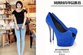 蓝色单品作为彩色中的佼佼者,即使是鱼嘴鞋也不放过,无论是淡雅的天蓝色,或是高雅的宝石蓝,无论怎样都很美。