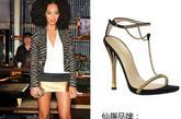 """索朗-诺里斯 (Solange Knowles)穿着古驰 (Gucci)2012春夏新款""""Ophelie""""T带高跟凉鞋,简单精致。"""