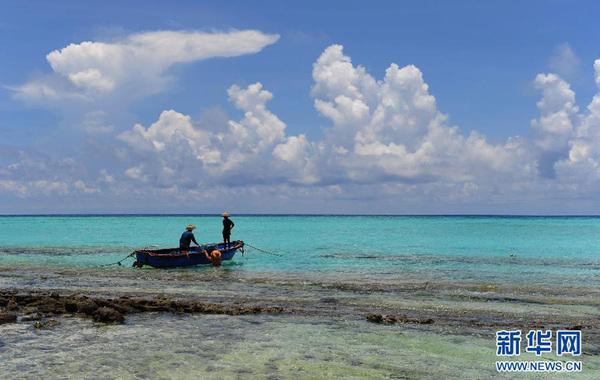 这是2012年5月6日在西沙赵述岛拍摄的渔民劳作场景。