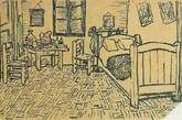 """梵高给弟弟提奥书信中画下的房间草图。而在好友、画家高更来到阿尔勒之前,梵高也在给他的信件里盛情描绘了这个房间。只是高更在这待了2个月便离去。无论是否像传闻那样因二人吵架,事实是梵高在这里割下自己的左耳,并因精神失常住进当地的医院。后两幅他的房间就是在医院中画下的。似乎梵高从未""""走出""""这个房间,这里住着回归自我、又颠沛自我的他。(实习编辑:周芝)"""