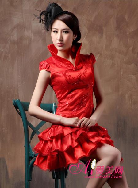 红色结婚旗袍 妖娆古典美不输婚纱