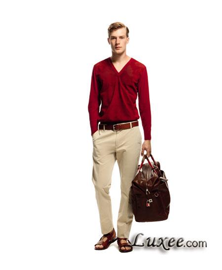 Bally 2012春夏男士系列红色打孔上衣