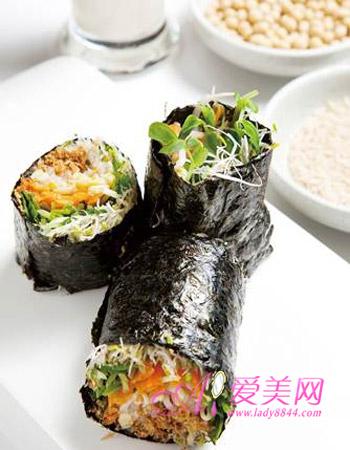 v海苔纤体海苔>材料正文芽菜卷美食海苔数片,绿豆芽半碗什么成分瘦脸图片