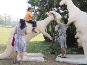 海口万绿园,两名游客让孩子骑在景观雕塑上玩耍。   海报集团全媒体中心记者 张茂 摄