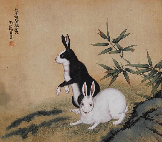 图1 【马晋双兔图绢本立轴】
