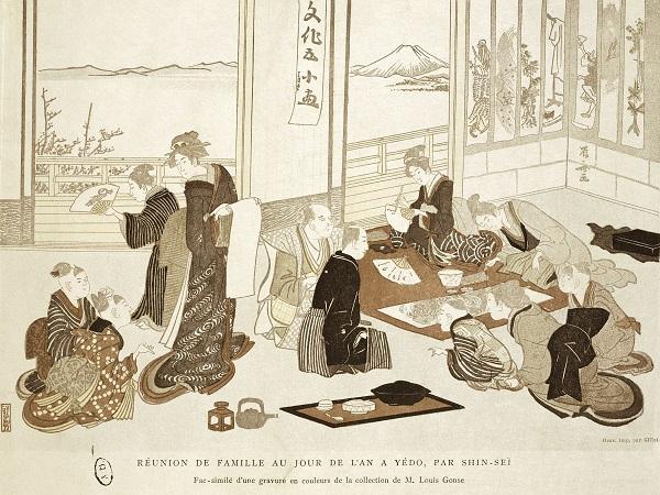 18世纪晚期日本江户时代的绘画作品描绘了一家人新年团聚时喝茶聚餐的情景