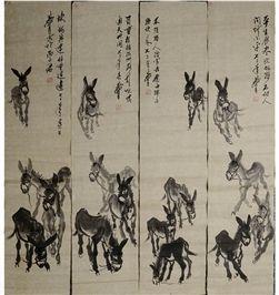 黄胄《群驴四条屏》