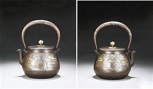 龙文堂安之介错金银浮世绘铁壶,2012年,嘉德四季第30期拍卖会上,以28.75万人民币成交。