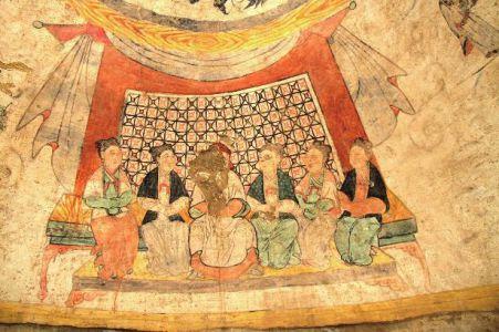 """陕北横山现元代壁画墓 绘有""""5位夫人伴夫君"""""""
