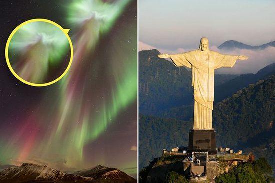 冰岛极光影像酷似里约的耶稣像