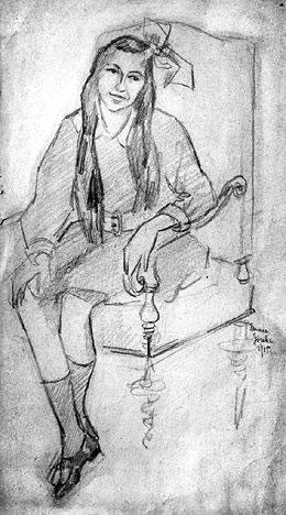 塔玛拉德兰陂卡蜡笔素描-塔玛拉 德兰陂卡 拿画笔的男爵夫人