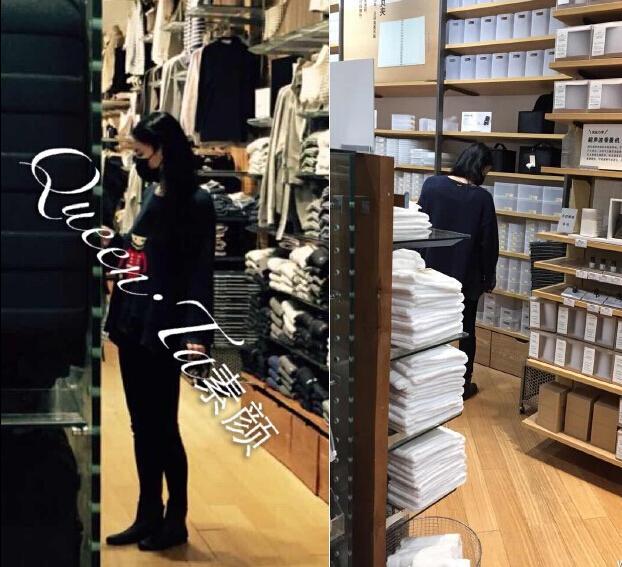 王菲一身黑衣配平底鞋逛商场小腹隆起疑似怀孕