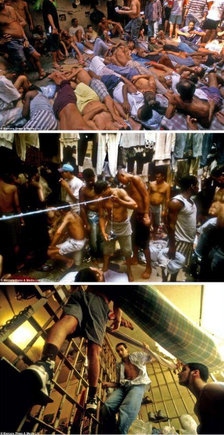"""巴西监狱纪实照片在网上爆红,这座监狱不仅卫生条件恶劣,而且5个犯人挤一间单人床。世界杯若有人犯事入狱,将受到老鸟的""""热烈欢迎""""。"""