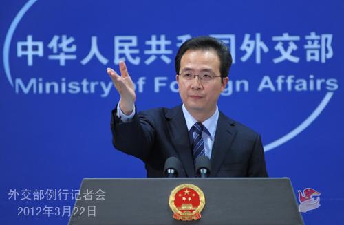 2012年3月22日,外交部发言人洪磊主持例行记者会。