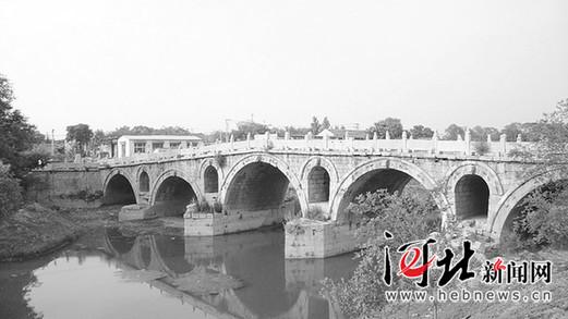 """献县单桥被认证为""""世界最长不对称石拱桥""""(图)"""