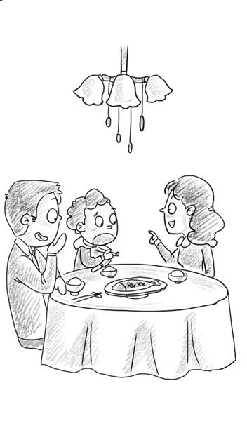 老婆的红烧鱼做得不错,但吃的次数多了就没感觉了。 一天,四岁的儿子首先发难:妈妈,鱼就这一种做法吗?我们班小朋友说有好多种呢。我正要回答,老婆使眼色阻止了我。老婆说:宝贝,星期天妈妈带你去饭店尝尝那些鱼。儿子拍着小手高兴得直跳。 星期天,我们一家人走进附近的饭店。