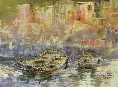 青岛市著名水彩画家刘牧虹作品《彩韵崂山之沙子口渔码头》