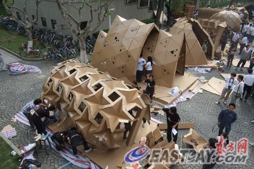 同济大学纸板建筑大赛创意无限(图)