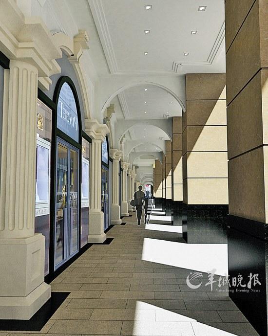 商场内的骑楼走廊效果图