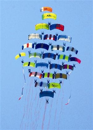飞机跳伞运动员在进行空中编队表演