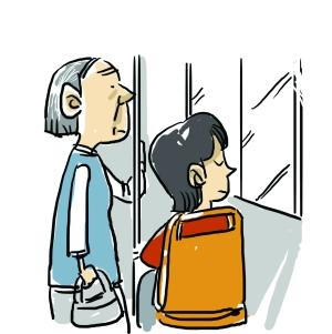 卡通母子俩背影图