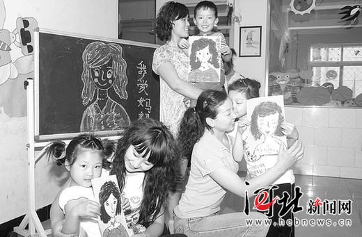 邯郸县幼儿园开展我爱妈妈画妈妈活动迎母亲