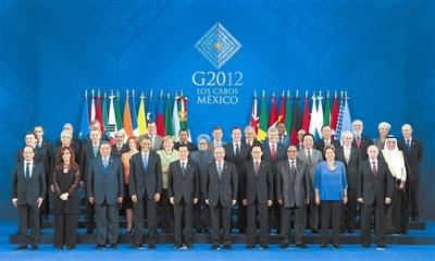 6月18日,国家主席胡锦涛在墨西哥洛斯卡沃斯出席二十国集团领导人图片