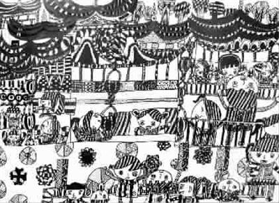 过个欢乐节(黑白画)图片