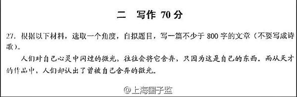 2012年上海高考心灵为题闪过:高中待发的作文的题目微光议论文出炉蓄积图片