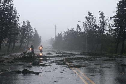澎湖道路上堆满折断的树枝.图片来自台媒