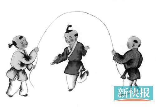 图画儿童游戏--跳绳子