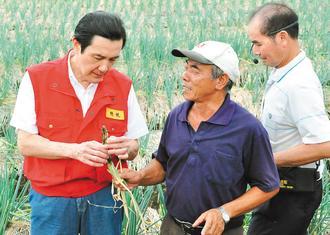 宜兰县三星葱农陈松辉(右)告诉马英九,三星葱只要太阳一出来,就从根开始腐烂。图片来源:台湾《联合报》