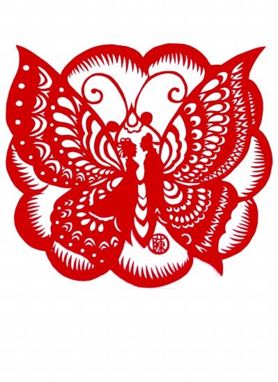剪纸蝴蝶的半边的图解