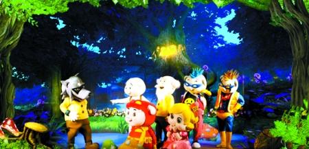 卡通夜晚森林场景素材
