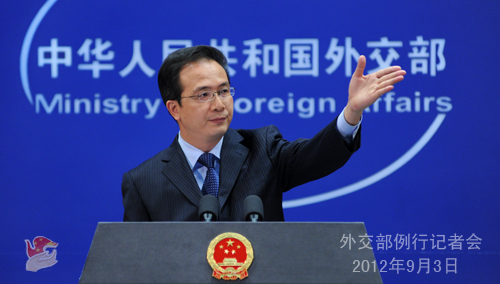 2012年9月3日,外交部发言人洪磊主持例行记者会。