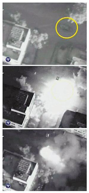 贾巴里汽车被锁定、击中、爆炸瞬间
