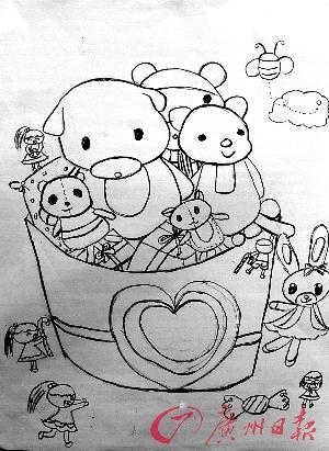 可爱动物精灵手绘图画