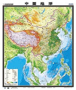 在竖版中国地形图中