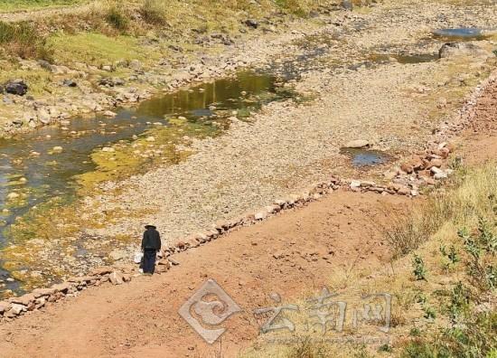 禄劝县城附近一段掌鸠河已现干涸