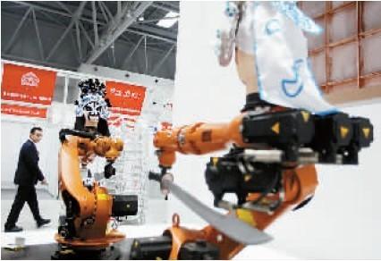 机器人表演京剧 三岔口
