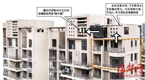 """1001室业主原本有两层复式楼(黄色框内),但仍占用楼顶露台搭盖""""楼中"""